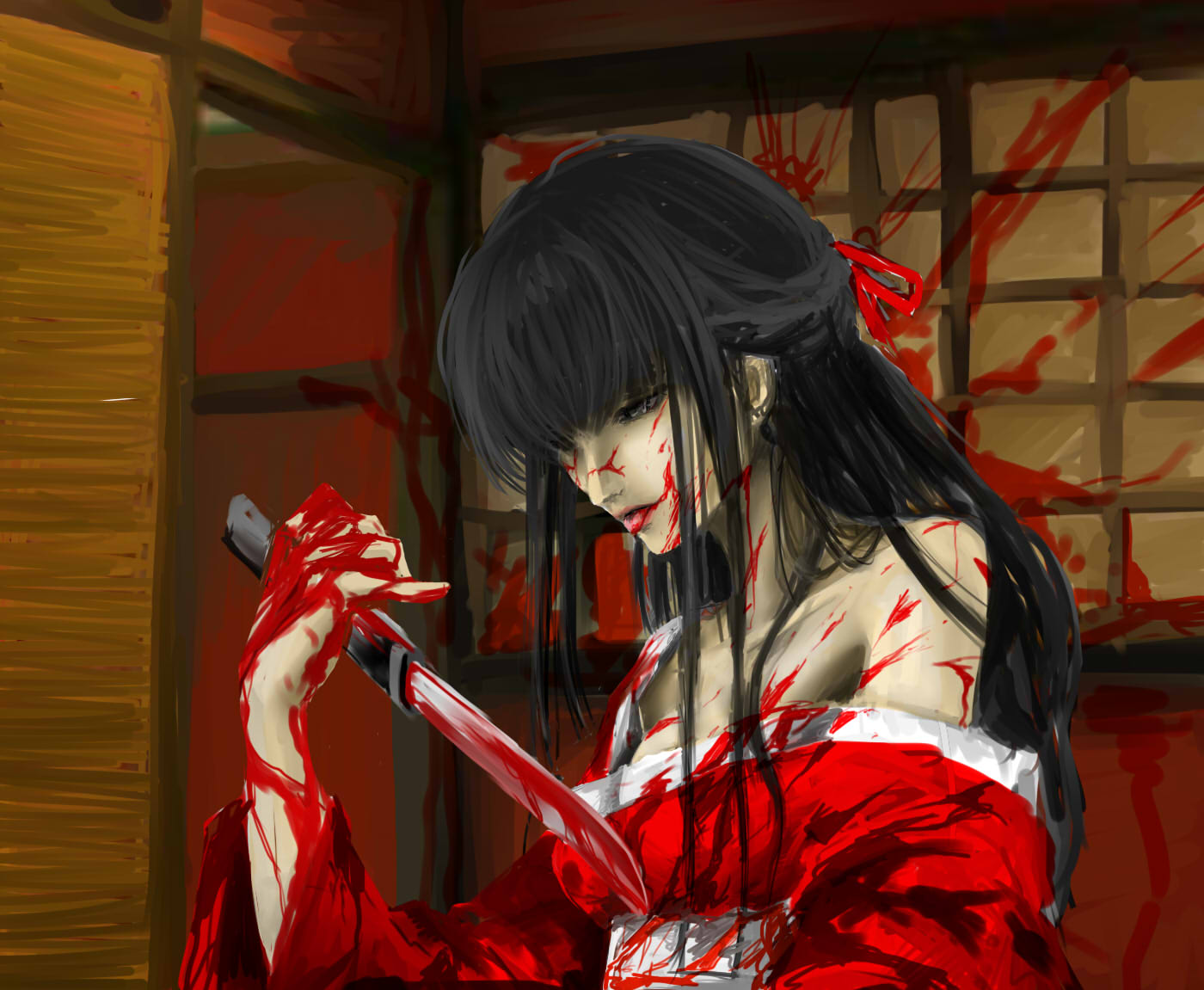 Картинки девушек с ножом аниме