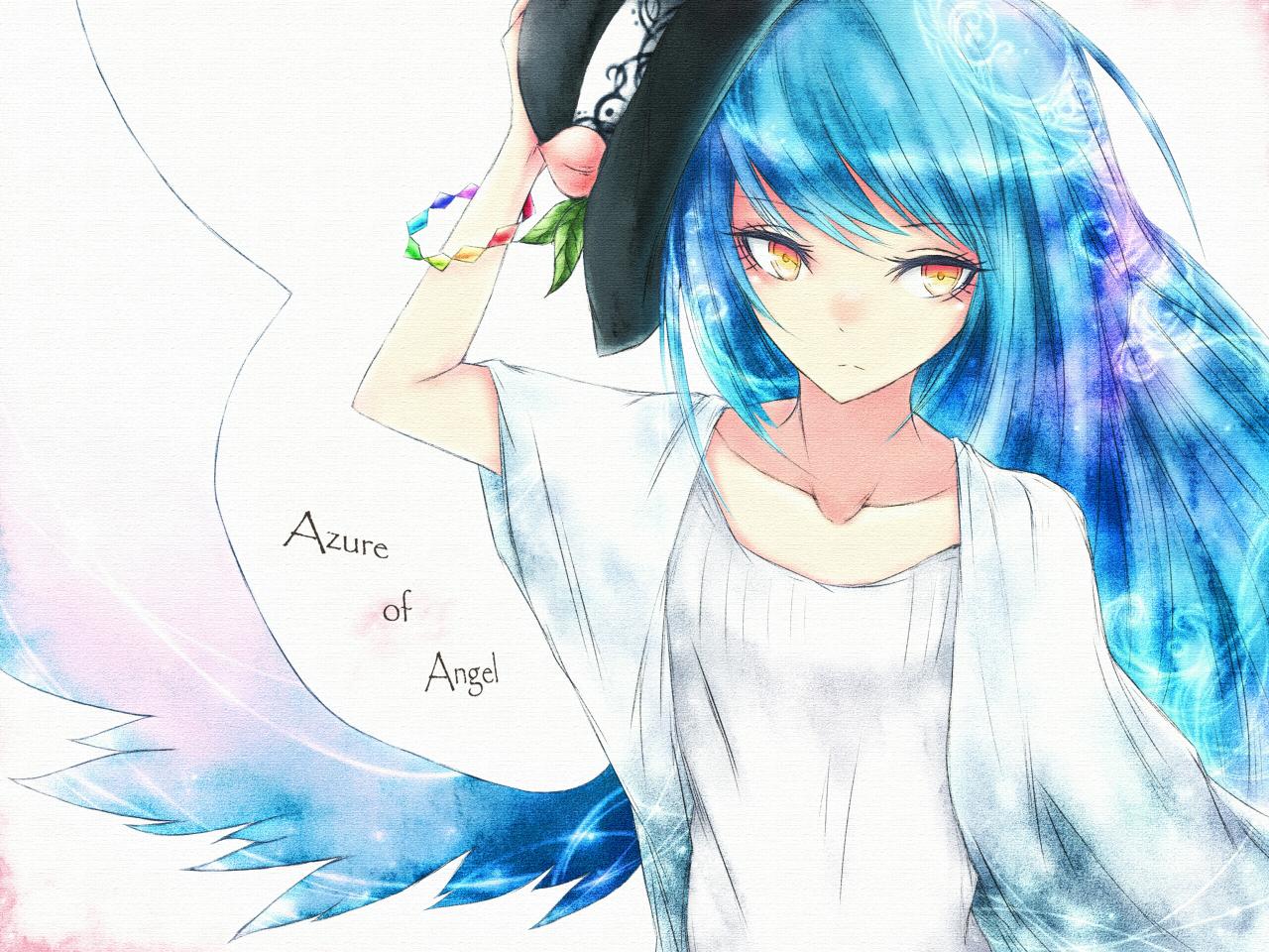 Аниме синие волосы девушки