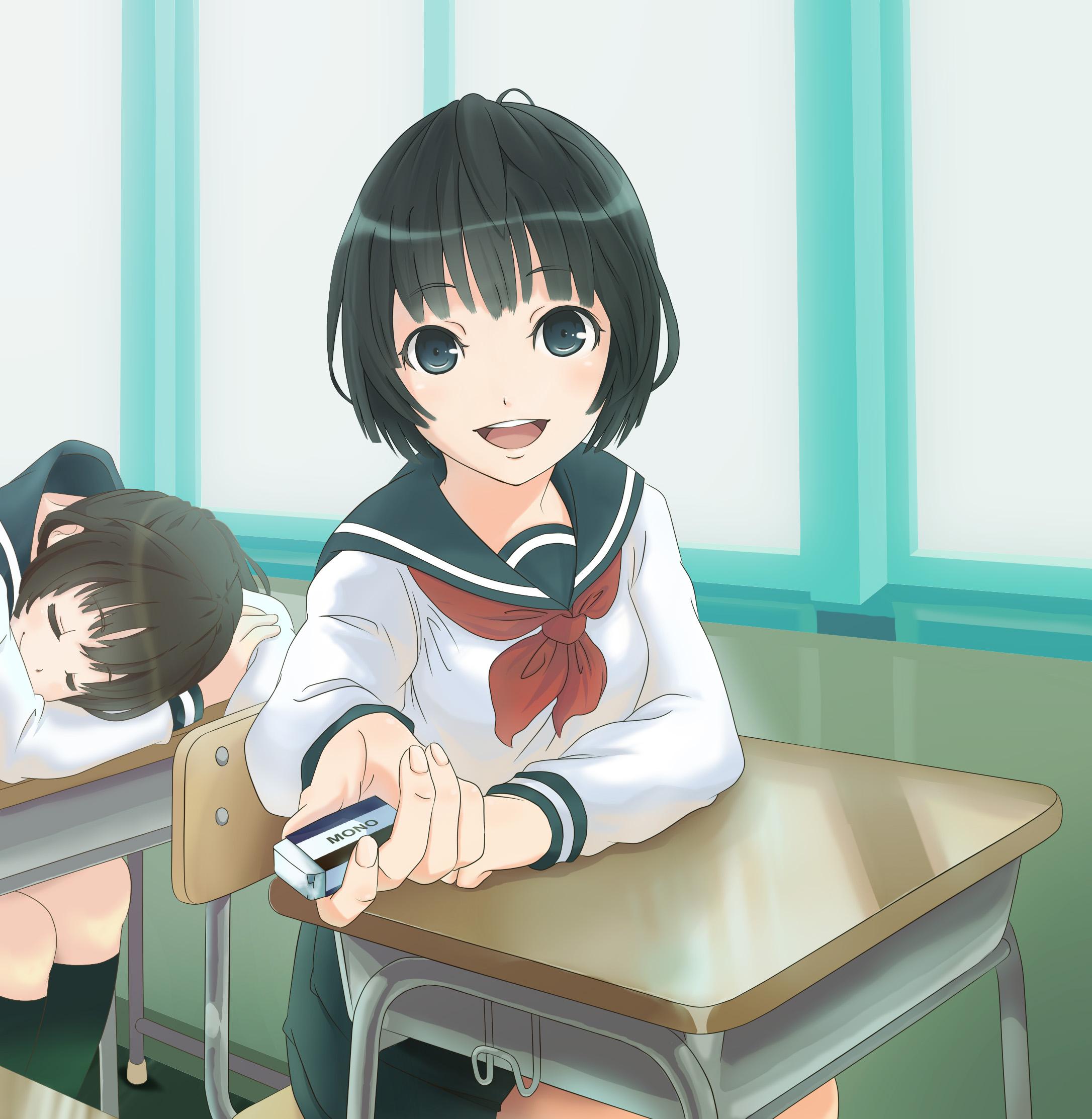Картинки аниме девочка в школе